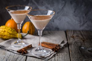 Chocolate Martini cocktail, rustic background, copy space